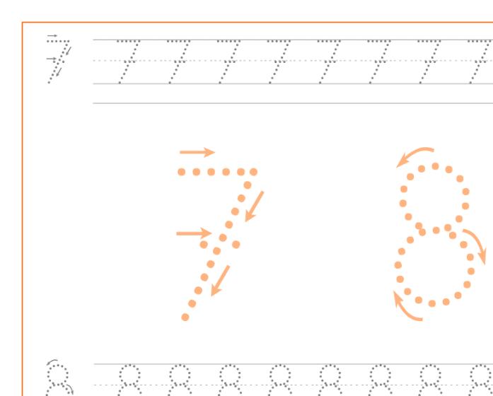 Ficha de caligrafía de los numeros 7 y 8, recursos educativos