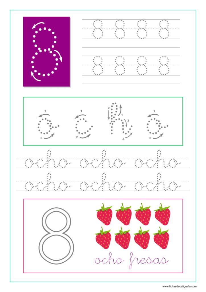 Aprender a escribir el número ocho