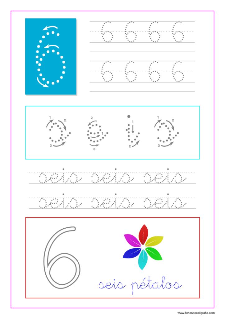 Los números. Hoja de caligrafía del número seis