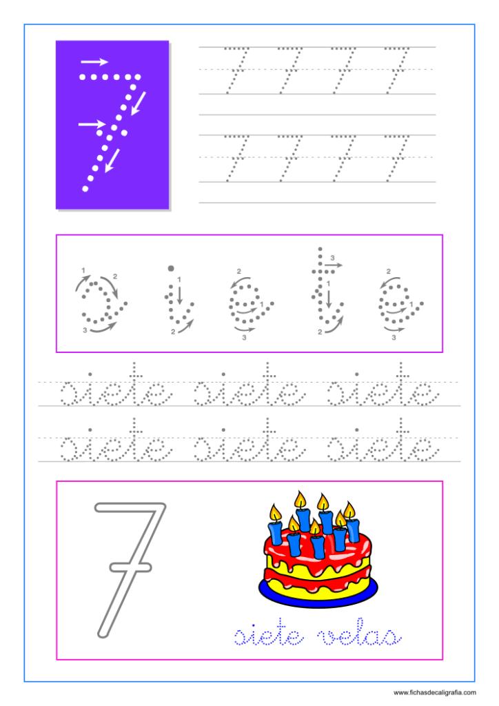 Los números. Hoja de caligrafía del número siete