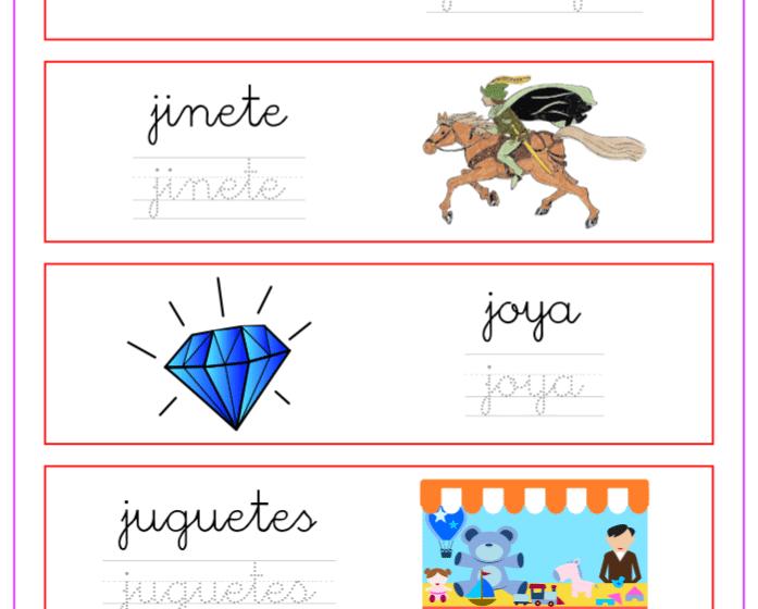 Palabras que empiezan por la letra j, recursos educativos
