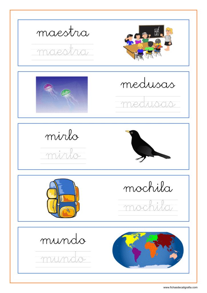 Caligrafía con palabras que empiezan por la letra m junto a cada vocal