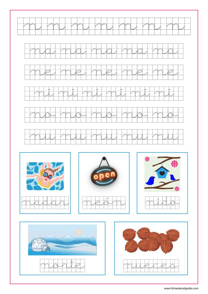 Plantilla de caligrafía en cuadricula con la letra n y las vocales