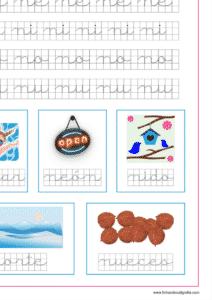 Plantilla de caligrafía en cuadricula con la letra n y las vocales, recursos educativos