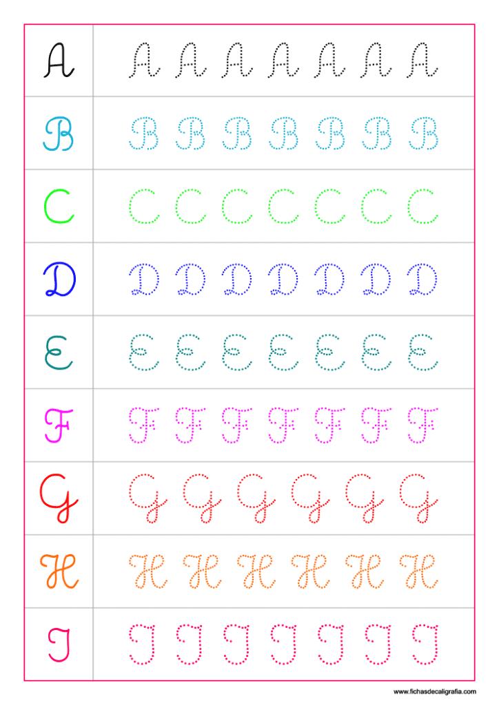Plantilla de caligrafía con las letras del alfabeto en mayúsculas adornadas de la A a la I