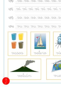 Plantilla de caligrafía con la letra v en minuscula y las vocales, recursos educativos