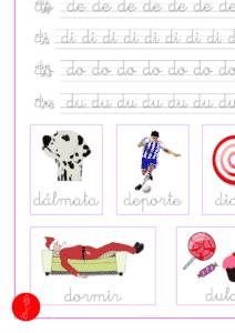 Ejercicio de lectoescritura de la letra d en minuscula y las vocales, recursos educativos