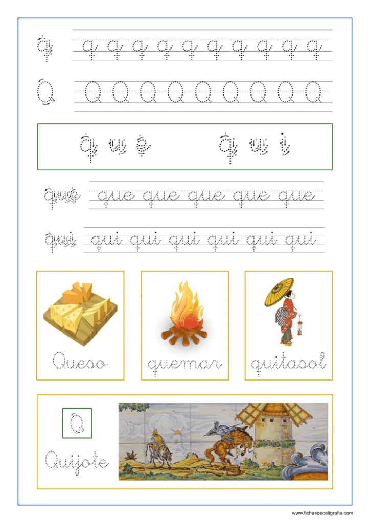 Ficha de lectoescritura con las letra q y las sílabas que y qui