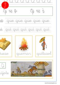 Ficha de lectoescritura con las letra q y las sílabas que y qui, recursos educativos