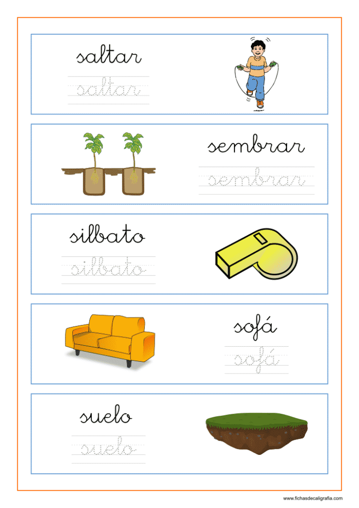 Hoja de lectoescritura con palabras que empiezan por la letra s en minuscula