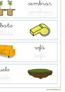 Recursos educativos, Ficha de lectoescritura con palabras que empiezan por la letra s en minuscula