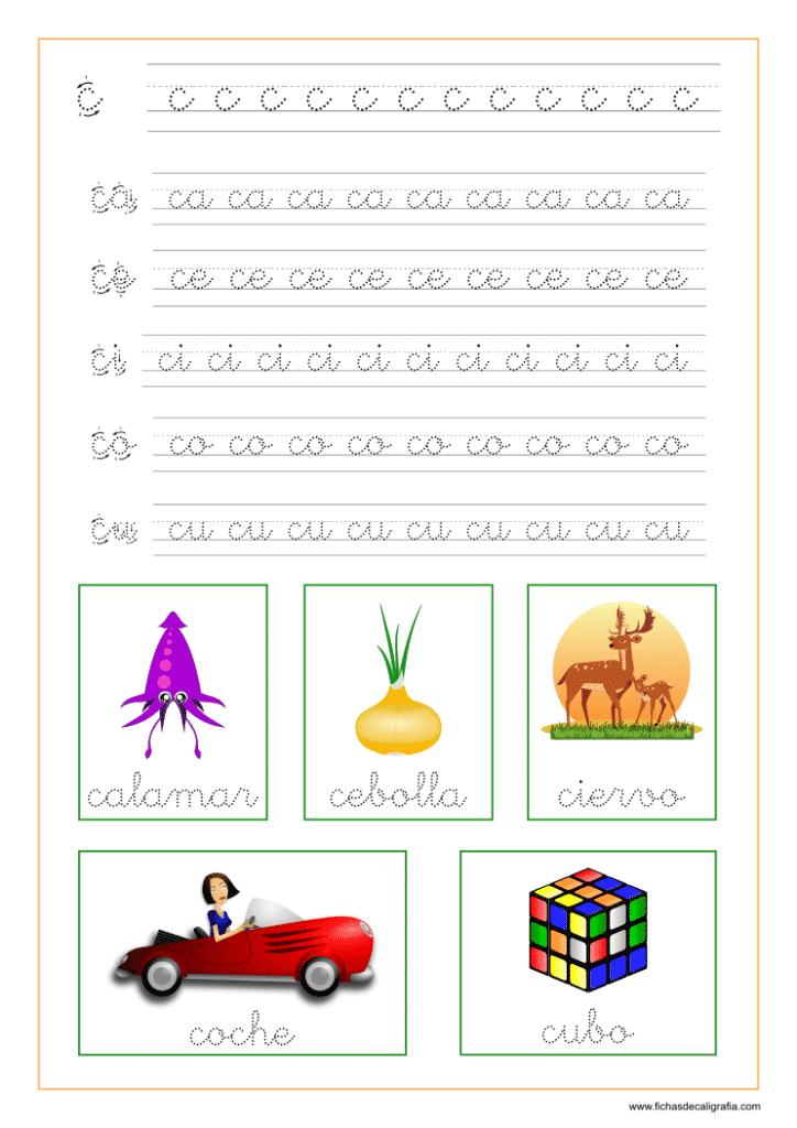 Ficha de lectoescritura de la letra c en minuscula y las vocales