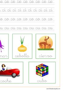 Ficha de lectoescritura de la letra c en minuscula y las vocales, recursos educativos