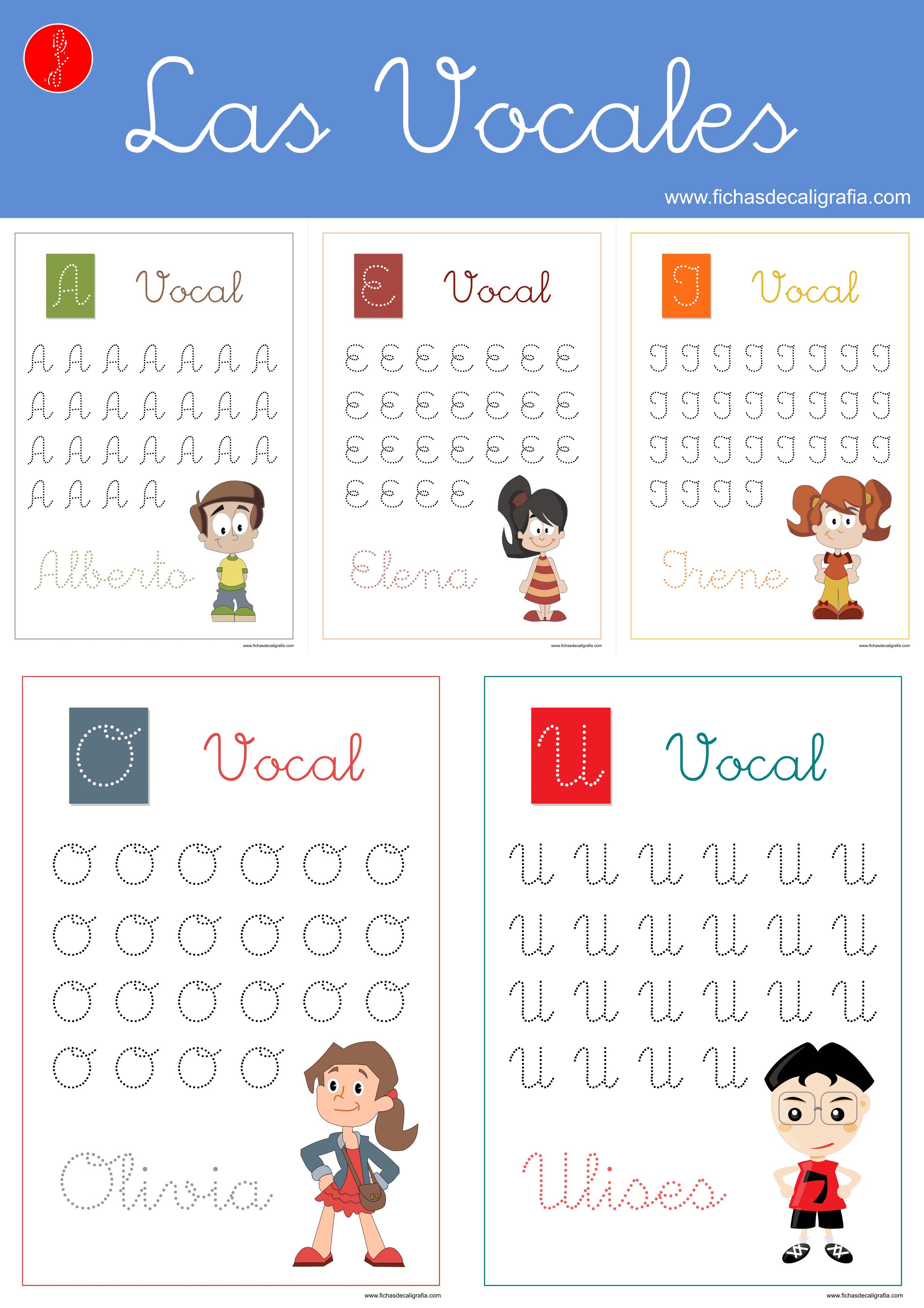 Fichas de caligrafía y lectoescritura con vocales en mayúsculas adornadas para preescolar e infantil