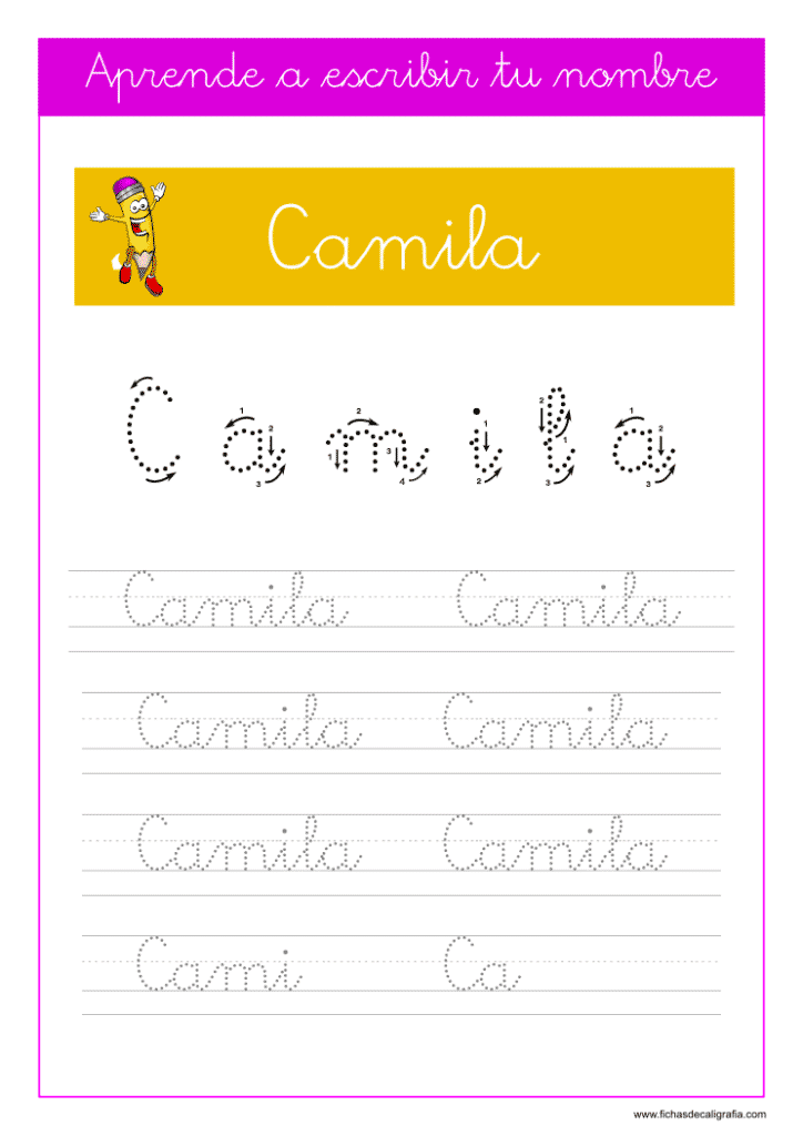 Caligrafía para aprender a escribir el nombre propio, Camila