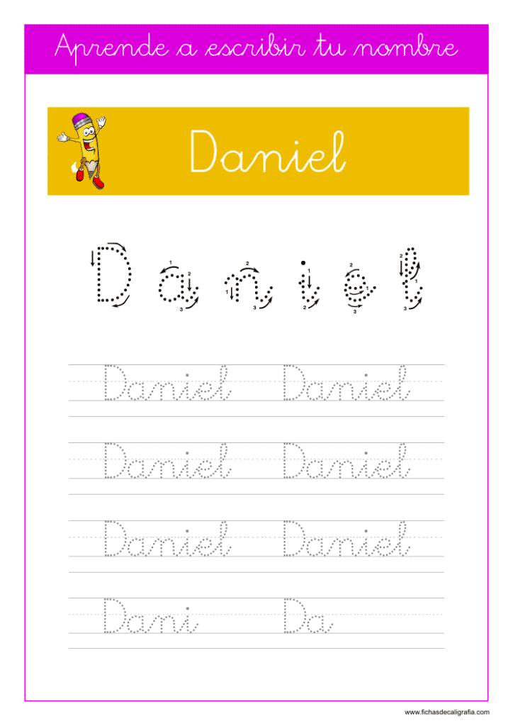 Caligrafía para aprender a escribir el nombre propio, Daniel