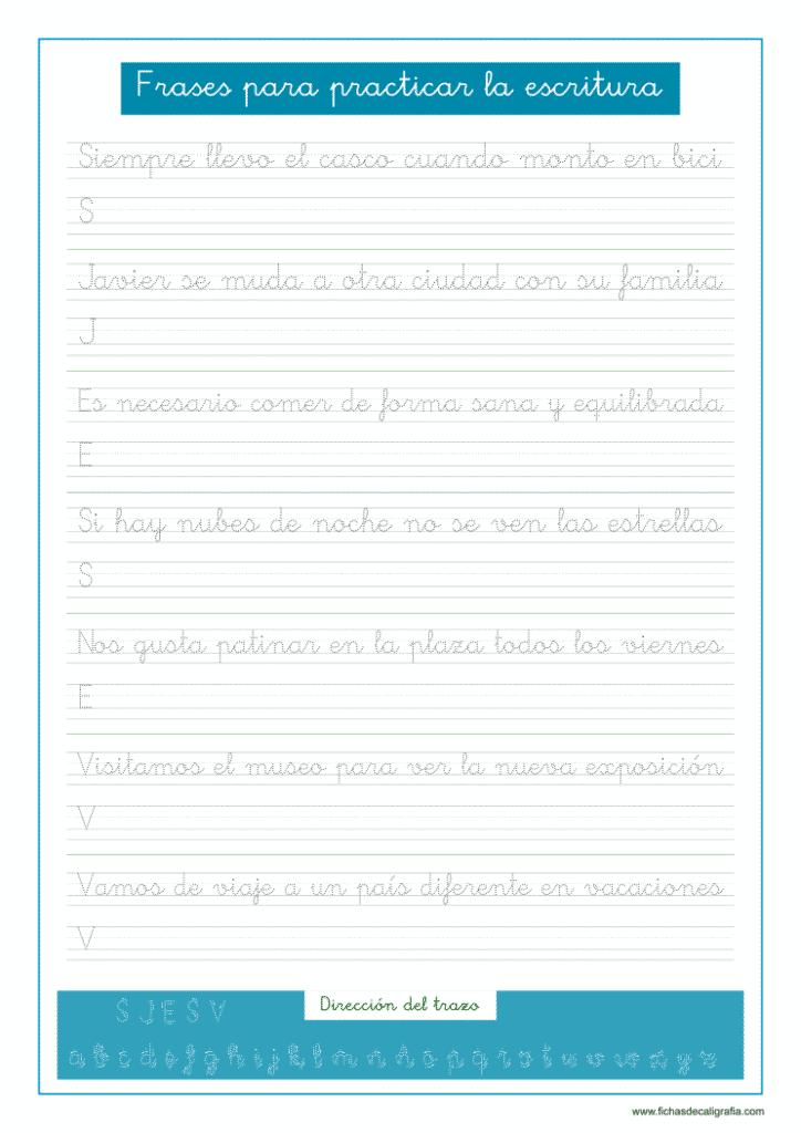 Caligrafía con frases y oraciones para mejorar la escritura