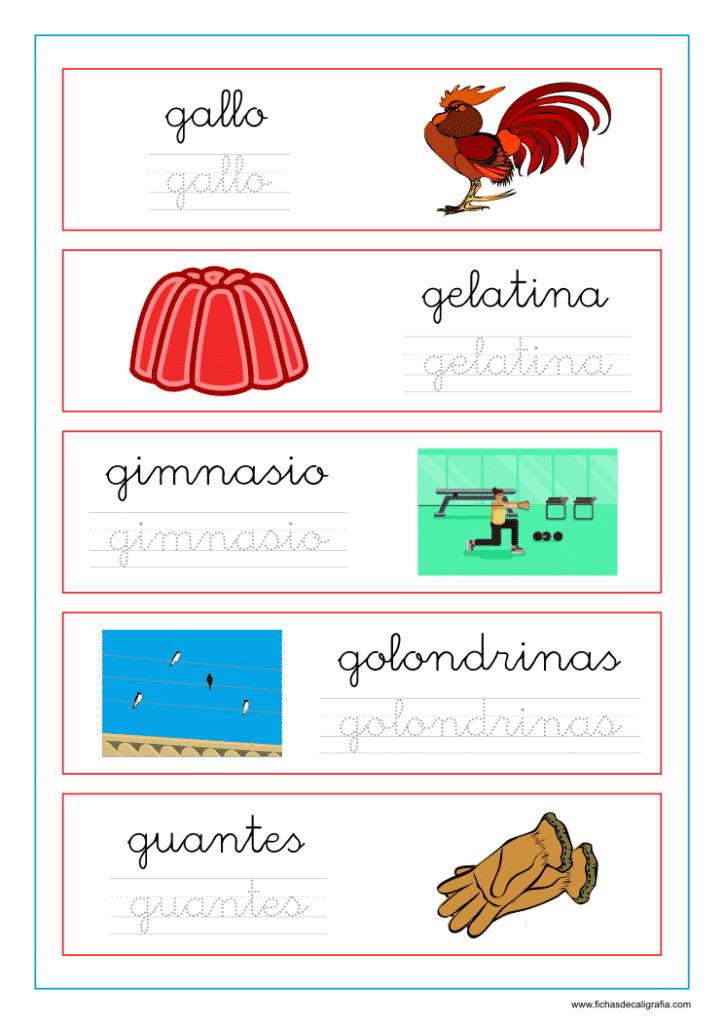 Ejercicio de lectoescritura con palabras que empiezan por la letra g en minuscula
