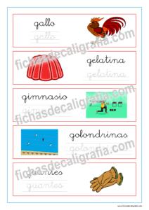 Ejercicio de lectoescritura con palabras que empiezan por la letra g en minuscula, recursos educativos