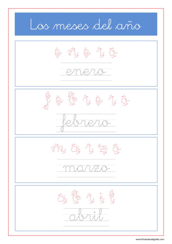 Fichas de lectoescritura con los meses del año enero, febrero, marzo y abril