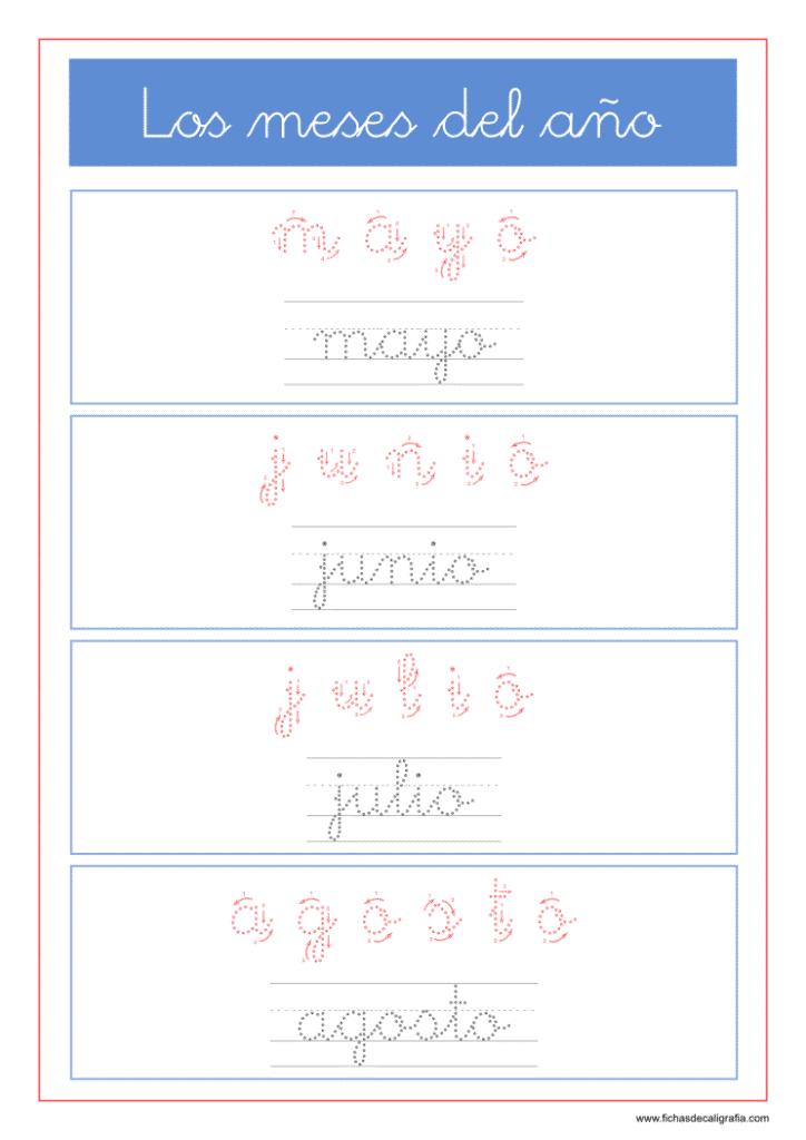 Fichas de lectoescritura con los meses del año mayo, junio, julio, agosto