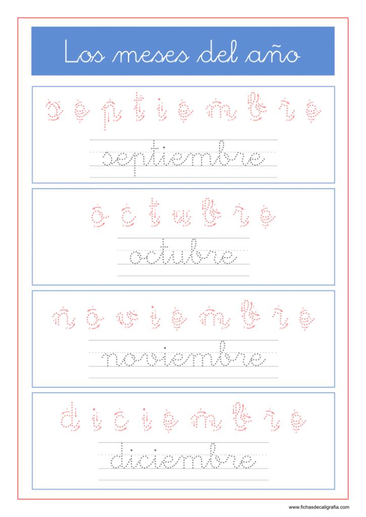 Fichas de lectoescritura con los meses del año septiembre, octubre, noviembre, diciembre