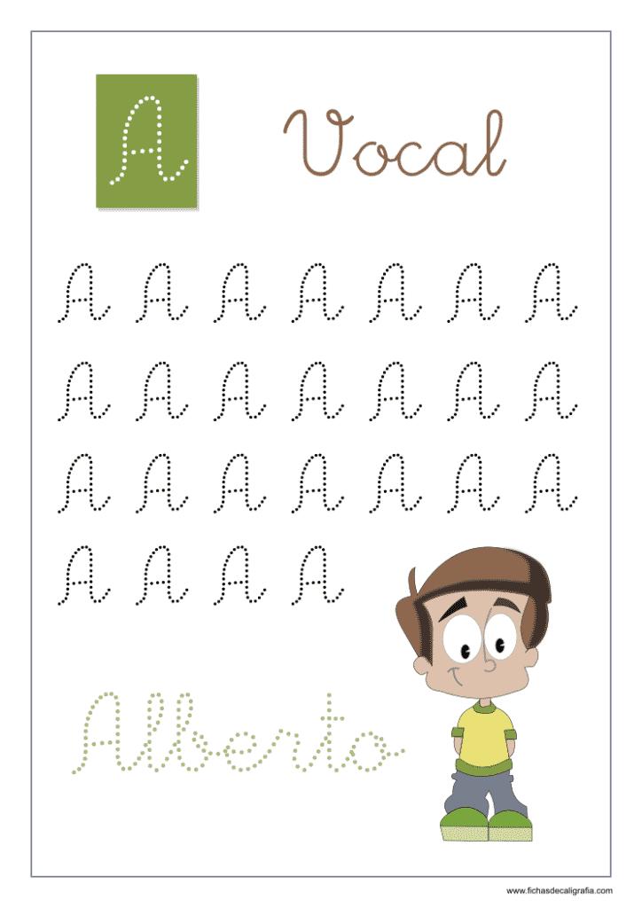 Vocal A, Fichas de caligrafía y lectoescritura con las vocales en mayúsculas adornadas