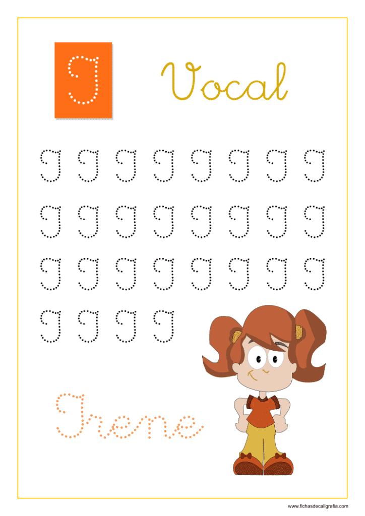 Vocal I, Fichas de caligrafía y lectoescritura con las vocales en mayúsculas adornadas