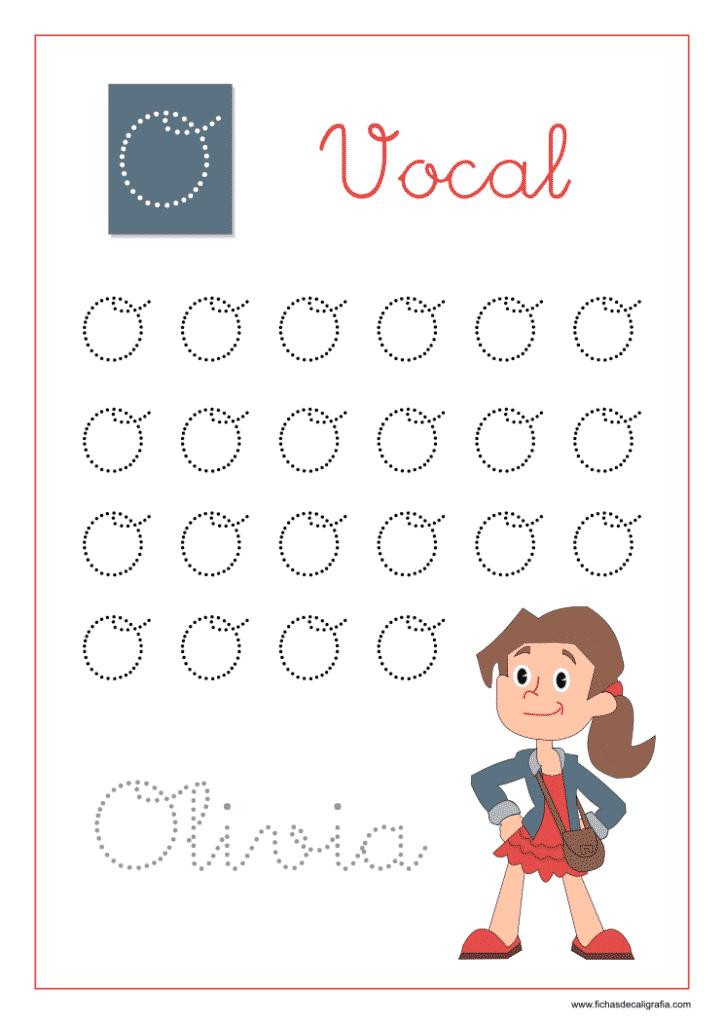 Vocal O, Ficha de caligrafía y lectoescritura con la letra O en mayúscula