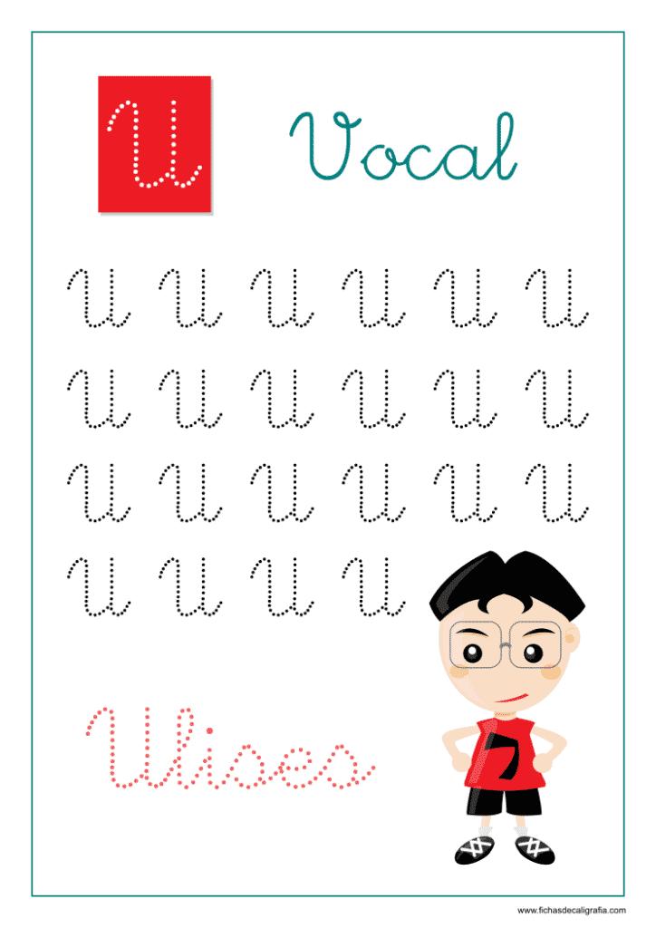 Vocal U, Ficha de caligrafía y lectoescritura con la letra U en mayúscula