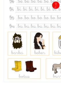 Recursos educativos, ejercicio de lectoescritura de la letra b en minuscula y las vocales