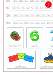 Recursos educativos, ficha de lectoescritura con la letra s en minúscula y las vocales