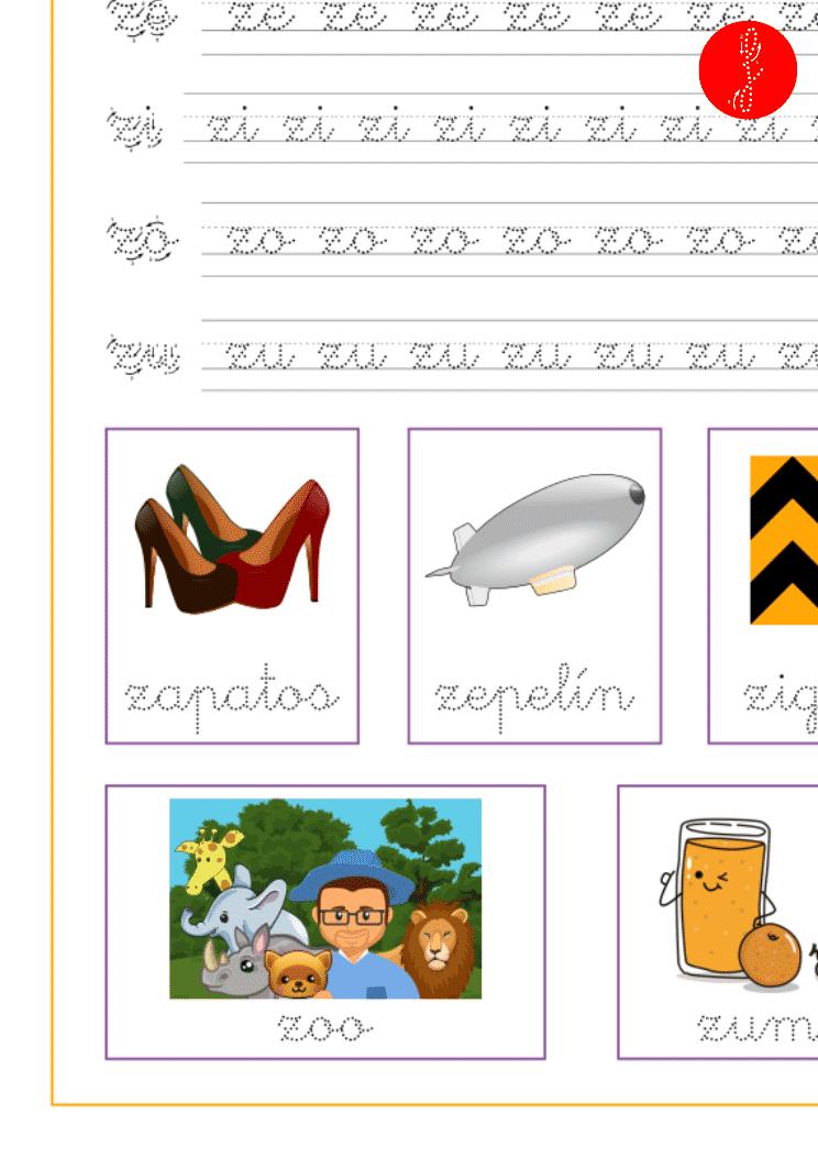 Recursos educativos, ficha de lectoescritura con la letra z en minúscula y las vocales