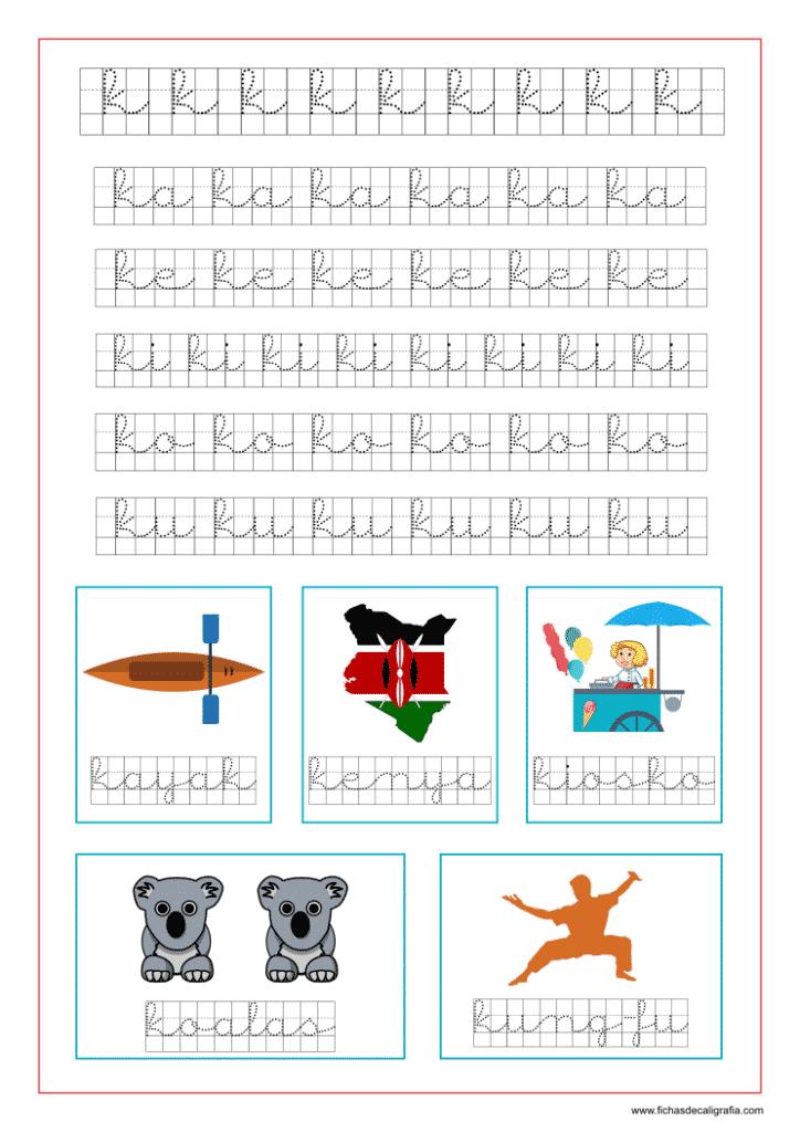 Ejercicio de la letra k en cuadrícula y las vocales