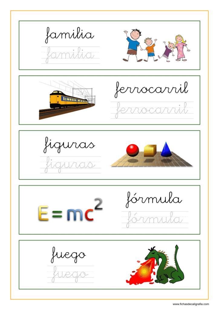 Ejercicio lectoescritura palabras empiezan por letra f
