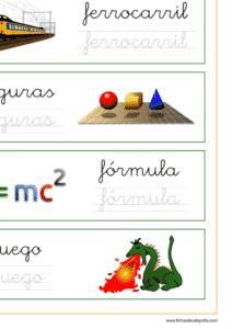 Recursos educativos, ejercicio lectoescritura con palabras que empieza por la letra f