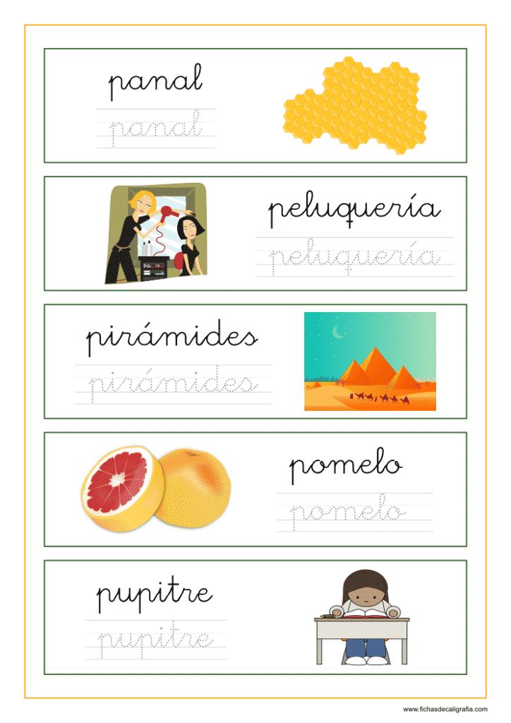 Ficha de lectoescritura con palabras que empiezan por letra p