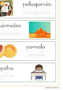 Recursos educativos, ficha de lectoescritura con palabras que empiezan por letra p