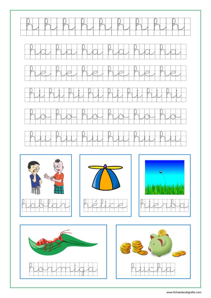 Ficha de lectoescritura y caligrafía en cuadrícula de la letra h en minuscula