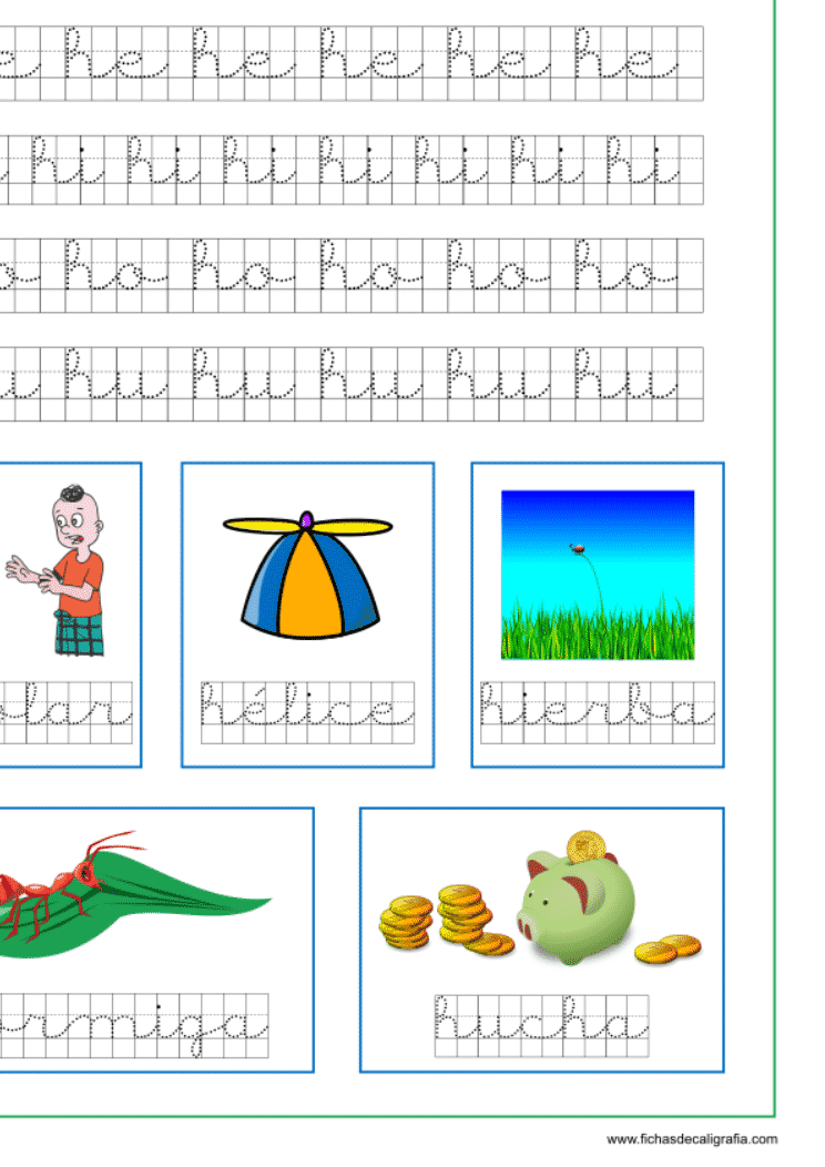 Recursos educativos, ficha de lectoescritura y caligrafía en cuadrícula de la letra h en minuscula