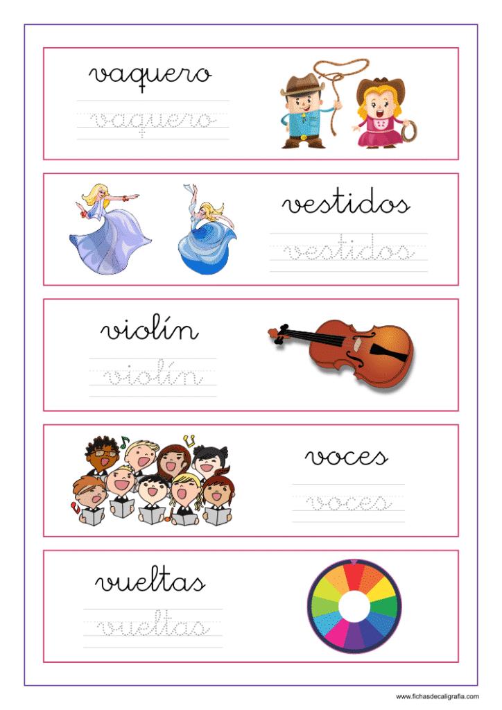 Ficha de lectoescritura con palabras que empiezan por letra v