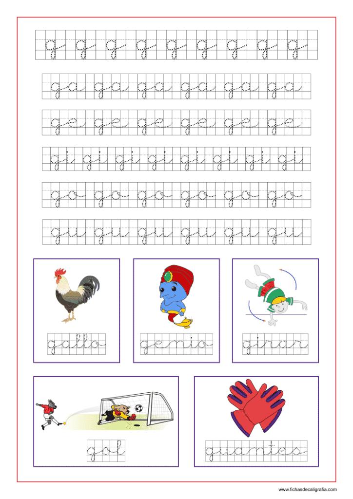 Ficha de la letra g en cuadrícula y las vocales