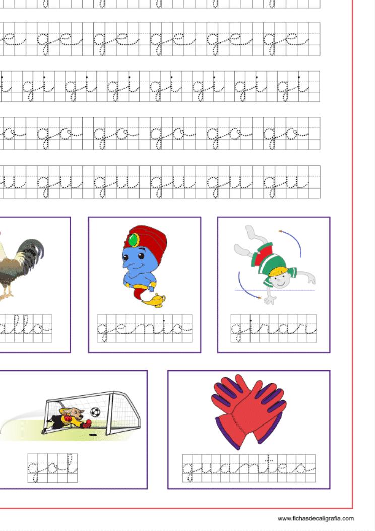 Recursos educativos, ficha de la letra g en cuadrícula y las vocales