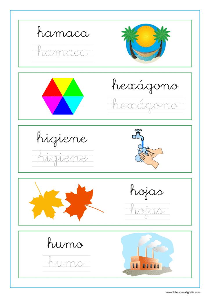 Palabras que empiezan por la letra h, lectoescritura