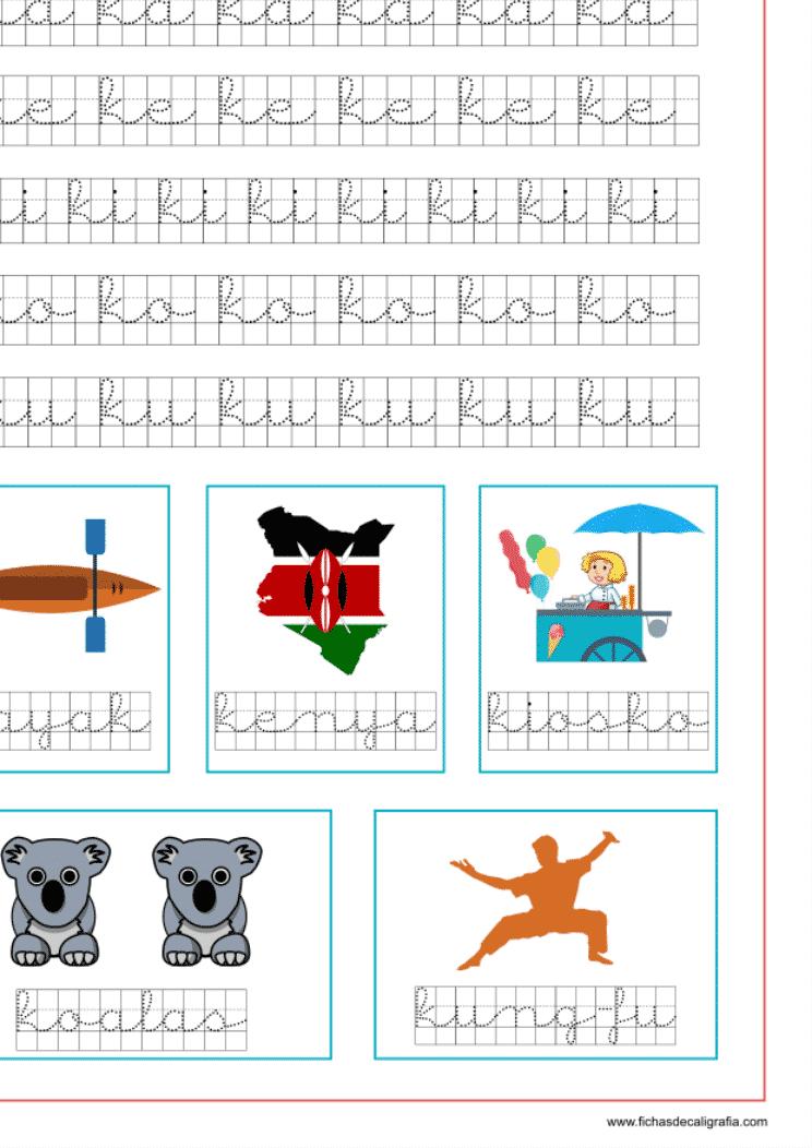 Recursos educativos, ejercicio de la letra k en cuadrícula y las vocales