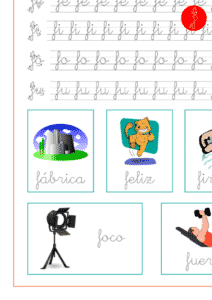 Recursos educativos, sílabas y palabras con fa-fe-fi-fo-fu, ejercicio de lectoescritura