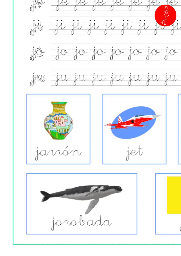 Recursos educativos, sílabas y palabras con ja-je-ji-jo-ju, ficha de lectoescritura