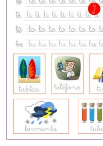 Recursos educativos, sílabas y palabras con ta-te-ti-to-tu, ejercicio de lectoescritura