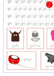 Recursos educativos, sílabas y palabras con ya-ye-yi-yo-yu, ejercicio de lectoescritura