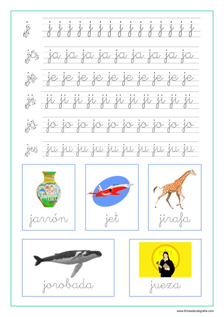 Sílabas y palabras con ja-je-ji-jo-ju, ficha de lectoescritura
